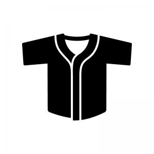 野球のユニフォームの白黒シルエットイラスト02
