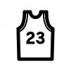 バスケットボールのユニフォームの白黒シルエットイラスト