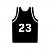 バスケットボールのユニフォームの白黒シルエットイラスト02