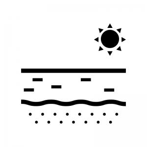ビーチ・砂浜の白黒シルエットイラスト