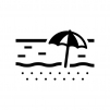 ビーチ・砂浜の白黒シルエットイラスト02