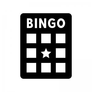 ビンゴゲームの台紙の白黒シルエットイラスト