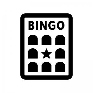 ビンゴゲームの台紙の白黒シルエットイラスト02