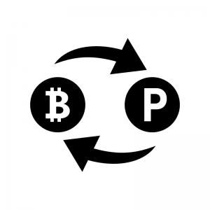 ビットコインとポイントの白黒シルエットイラスト