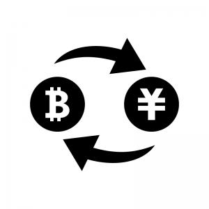 ビットコインと円の白黒シルエットイラスト
