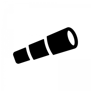 望遠鏡の白黒シルエットイラスト
