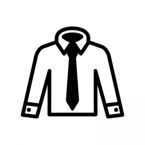 Yシャツとネクタイの白黒シルエットイラスト03