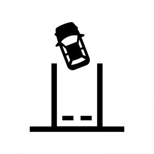 バックで駐車の白黒シルエットイラスト