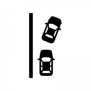 縦列駐車の白黒シルエットイラスト