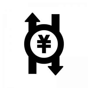 キャッシュフローの白黒シルエットイラスト02