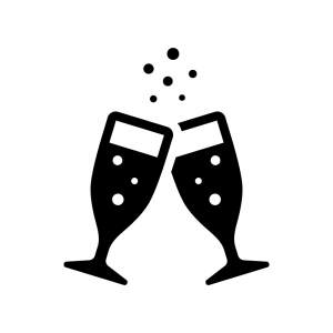 シャンパンで乾杯の白黒シルエットイラスト02
