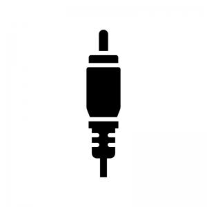 ビデオ端子・コンポジット端子の白黒シルエットイラスト