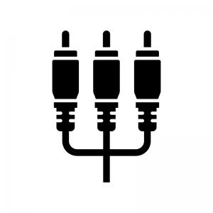 ビデオ端子・コンポジット端子の白黒シルエットイラスト02
