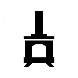 薪ストーブの白黒シルエットイラスト