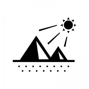 砂漠の白黒シルエットイラスト