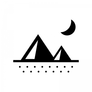 三日月と砂漠の白黒シルエットイラスト