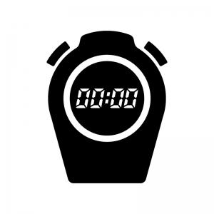 デジタルのストップウォッチの白黒シルエットイラスト02