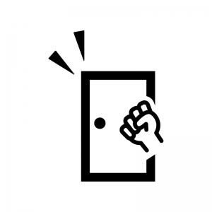 ドアをノックする白黒シルエットイラスト