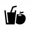 りんごジュースの白黒シルエットイラスト