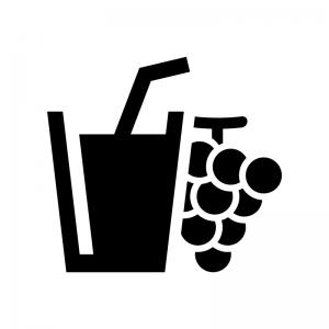 グレープジュースの白黒シルエットイラスト