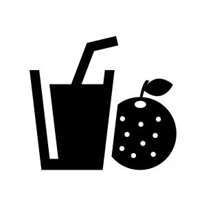 オレンジジュースの白黒シルエットイラスト