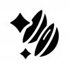 清潔なコンタクトレンズの白黒シルエットイラスト
