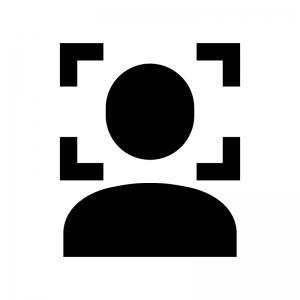 顔認証の白黒シルエットイラスト