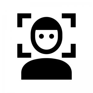 顔認証の白黒シルエットイラスト02