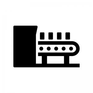 製造・ベルトコンベアーの白黒シルエットイラスト02