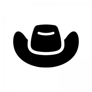テンガロンハットの白黒シルエットイラスト