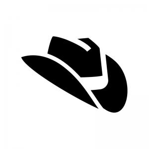 テンガロンハットの白黒シルエットイラスト03