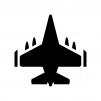 戦闘機の白黒シルエットイラスト