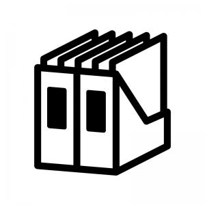 ファイルボックスと書類の白黒シルエットイラスト