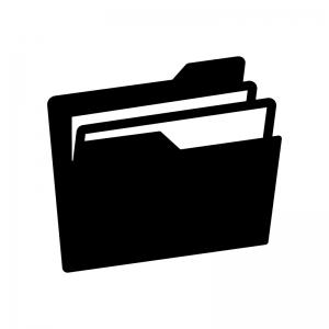 ファイルフォルダの白黒シルエットイラスト