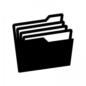 ファイルフォルダの白黒シルエットイラスト02