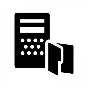 ファイルサーバーの白黒シルエットイラスト