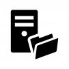 ファイルサーバーの白黒シルエットイラスト02
