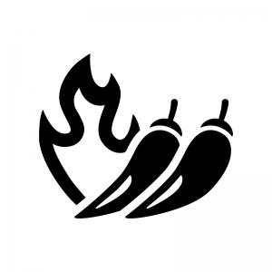 火と唐辛子の白黒シルエットイラスト03