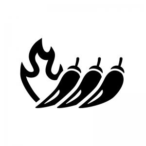 火と唐辛子の白黒シルエットイラスト04