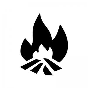 焚き火の白黒シルエットイラスト03