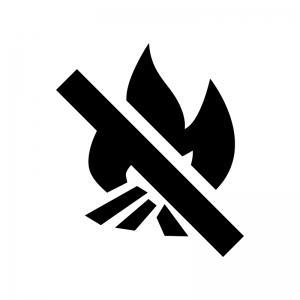 焚き火禁止の白黒シルエットイラスト02