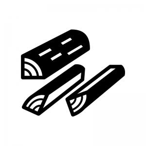 薪の白黒シルエットイラスト