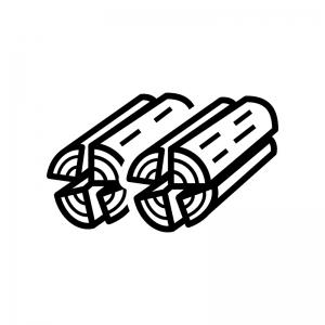 薪の白黒シルエットイラスト02