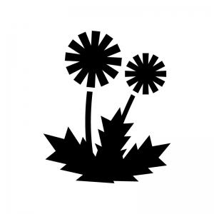 タンポポの白黒シルエットイラスト02