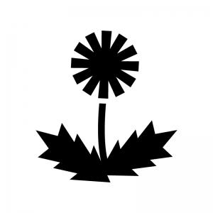 タンポポの白黒シルエットイラスト