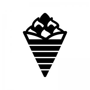 クレープの白黒シルエットイラスト03