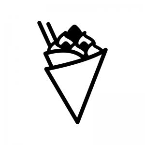 クレープの白黒シルエットイラスト04