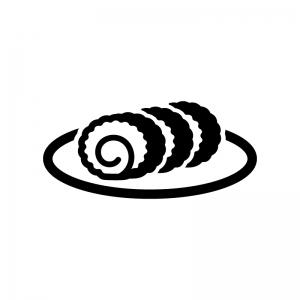 伊達巻の白黒シルエットイラスト02