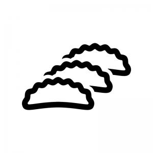 ギョウザの白黒シルエットイラスト