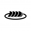 ギョウザの白黒シルエットイラスト02